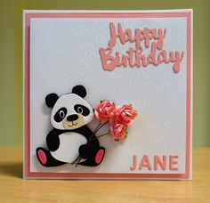 Birthday Card - Marianne Collectables Panda Die. For more of my cards please visit CraftyCardStudio on Etsy.com.
