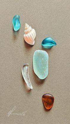 Seaglass Pieces, Colored Pencil/Mixed Media by Elena Kolotusha