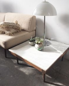 Mid Century Walnut and White Marble coffee Table —