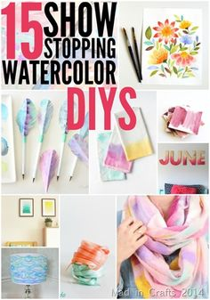 15 DIY Watercolor Projects via Mad in Crafts