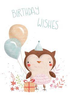 Gina Lorena Maldonado - Flowery Owl - Birthday Wishes - GM