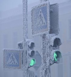 Coldest village on record, ice and snow covered traffic lights. It in Yakutsk, Russia
