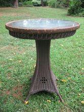 Round Art Deco Wicker Pedestal Table