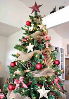 The Christmas season is here! And that means decorating your tree! My family always picks a day and decorates the tree together. I hope you are inspired by these beautiful Christmas tree ideas! Burlap Christmas, Noel Christmas, Primitive Christmas, Winter Christmas, Christmas Crafts, Natural Christmas, Christmas Ornaments, Halloween Christmas, Christmas Tree Mesh Ribbon