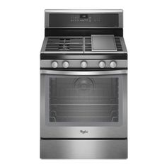 $1079 - Griddle top - Whirlpool 30-in 5-Burner Freestanding 5.8 cu ft Convection Gas Range (Stainless Steel)