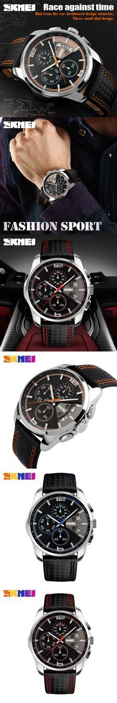 SKMEI Men Chronograph Watch Men Digital Watch Leather Quartz Watch Waterproof Casual Military Sports watches Relogio Masculino