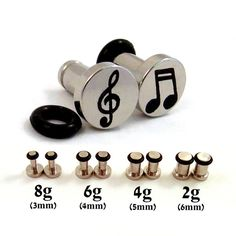 Musician Single Flared Surgical Steel Plugs - 8g (3mm) 6g (4mm) 4g (5mm) 2g (6mm) Music Notes and Treble Clef Symbol Metal Ear Gauges on Etsy, $21.00 CAD