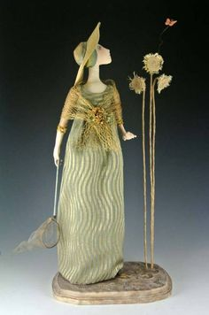 createcreatively:    Elusive Butterfly by Cindee Moyer  Fabric doll with a soft –sculpted face.