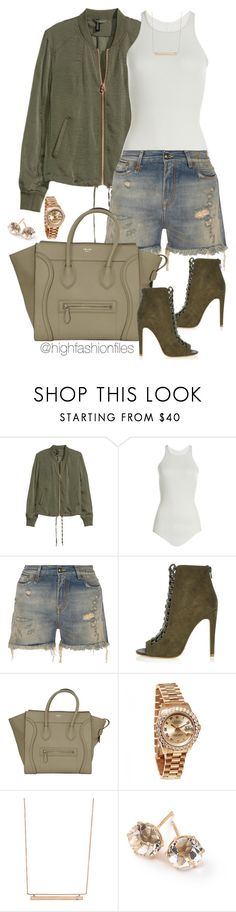 """""""Khaki"""" by highfashionfiles ❤ liked on Polyvore featuring Rick Owens, R13, River Island, Rolex, Monique Péan and Ippolita"""