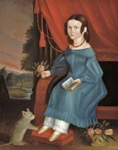 Unknown American artist, Girl with a Book and a Cat, 1840s