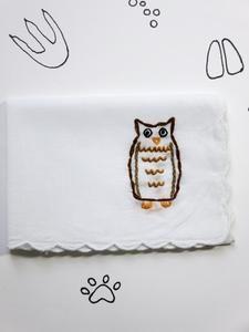 Animal Owl Handkerchief Handmade Gift Idea, Woodland animal embroidery, quirky gift idea