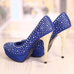 Poze Pantofi Stiletto Chaboo Albastrii Cod: 840
