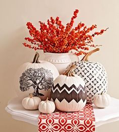 See how to make these pretty pumpkins by printing patterns on tissue paper. Here's all you need: http://www.midwestliving.com/homes/decorating-ideas/elegant-natural-fall-decorating/?page=6,0