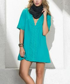 Look what I found on #zulily! Turquoise Fringe Racerback Dress #zulilyfinds