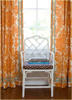 drapery fabric and blue trim/pattern broken up by a tape trim
