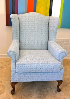 Unique wing chair - blue suede with black scroll design.  Updated & upcycled!