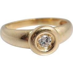 Retro French stamped 18K solid gold ring with a unique natural diamond setting, attractive wedding band or engagement ring