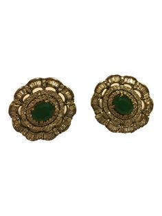VICTORIAN STUDS by designer Mireve from sobayha.com. Classic zircon and green onyx studs in a white rhodium finish. See more at: https://www.sobayha.com/catalogue/victorian-studs_1369/