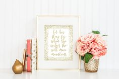 Let Her Sleep For When She Wakes She Will Move Mountains, Gold Decor, Glitter Print, Gold Nursery, Nursery Decor, Nursery Wall Prints by printshopstudio on Etsy