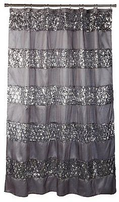 Shower curtain #fabric silver #sequin sparkle bling bathroom #accessory bathtub ,  View more on the LINK: http://www.zeppy.io/product/gb/2/171845974509/