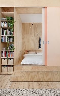 Small apartment featuring a timber box of bedrooms and storage.
