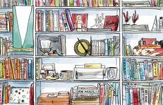 Digital Decorating Dilemmas - The Design Files Illustration Art Drawing, Drawing Sketches, Art Drawings, Book Illustrations, Bookshelves, Bookcase, Decoupage, World Birds, The Design Files