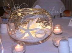 Beach themed Table centrepieces