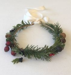 Rustic Christmas Boho Flower Crown Holiday by FlowerHungry on Etsy