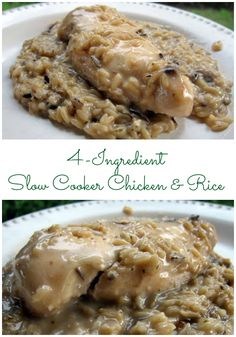 4-Ingredient Slow Cooker Chicken and Rice - SO easy and SO delicious! Kids and adults gobble this up!