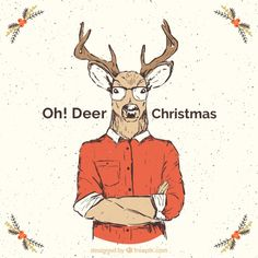 Reindeer christmas card in hipster style Free Vector