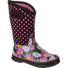 Bogs Flower Dot Boot Girls' Coffee 6.0