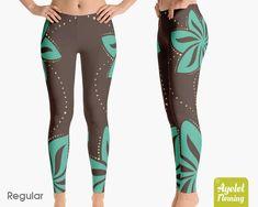 baa3c7668e Polynesian tribal leggings Hawaiian yoga leggings printed Blue brown luau  floral tights Yoga pants women Leggings