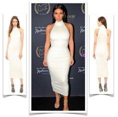 Kim Kardashian in Torn by Ronny Kobo Thiadora white dress $318 Price after code SPRING20: $254.40