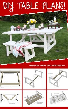 DIY table plans for backyard dining Furniture Projects, Furniture Plans, Diy Furniture, Outdoor Furniture, Do It Yourself Furniture, Do It Yourself Home, Diy Projects To Try, Home Projects, Wood Crafts