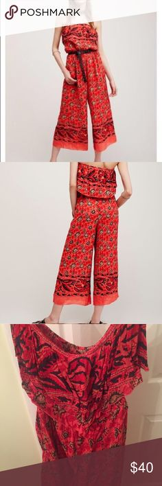 Free People Simone Romper Jumpsuit Gorgeous red strapless jumpsuit from Free People; Size Medium. Worn once no damage Free People Pants Jumpsuits & Rompers