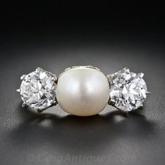 Antique Natural Pearl and Diamond Three-Stone Ring