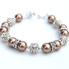 Bridesmaid Jewelry Bronze Pearl Rhinestone Bracelet Bridesmaid Gifts... ($27) ❤ liked on Polyvore featuring jewelry, bracelets, silver, weddings, pearl jewellery, adjustable bangle, beading jewelry, rhinestone jewelry и rhinestone bangle