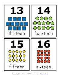 number flash cards 13 - 16