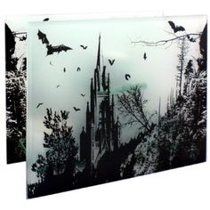 Amazon.com: 6.5 inch Frosted Glass Gothic Bats Forest Scene Home Décor Candelabra Tea Light Candle Holder: Home & Kitchen