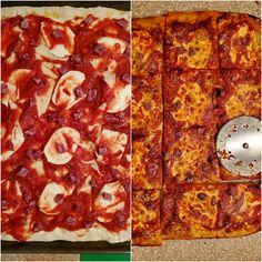 Grandma Pizza Dough Recipe from Perfect Pan Pizza Grandma's Pizza, Pizza Pastry, Vegan Pizza, Pastry Chef, Freeze Pizza Dough, No Knead Pizza Dough, Pizza Recipes, Cooking Recipes, Grandma Pie