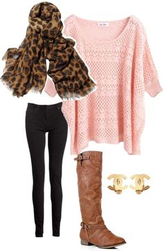 pink sweater, leopard scarf, black skinny jeans, boots