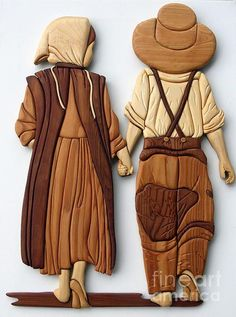 Amish friends Wood Print by Bill Fugerer. All wood prints are professionally printed, packaged, and shipped within 3 - 4 business days and delivered ready-to-hang on your wall. Choose from multiple sizes and mounting options. Intarsia Wood Patterns, Wood Carving Patterns, Intarsia Woodworking, Woodworking Patterns, Woodworking Wood, Friend Canvas, Bois Diy, Scroll Saw Patterns, Wood Creations
