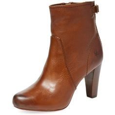 Frye Marissa Zip Leather Bootie ($169) ❤ liked on Polyvore featuring shoes, boots, ankle booties, cognac, short boots, leather bootie, leather platform booties, cognac booties and platform booties