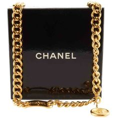 Pre-owned Chain belt ($545) ❤ liked on Polyvore featuring accessories, belts, bags, chanel, clutches, purses, gold, engraved belts, chain belt and hook belt