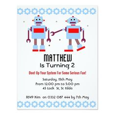 417 best robot birthday party invitations images on pinterest in
