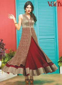 Maroon Georgette Anarkali Suit www.ethnicoutfits.com Email : support@ethnicoutfits.com What's app : +918141377746 Call : +918140714515