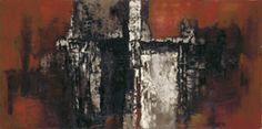 Shelter, 1959,  Samuel Bak,  Oil on canvas  59x100 cm.  Collection of the artist