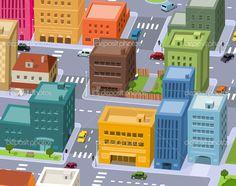 cartoon city birdview