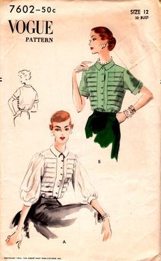 1952 Misses' Blouse Vogue 7602 Size 12 Bust 30