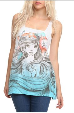 Disney The Little Mermaid Ariel Sketch Tank Top - 409331 from Hot Topic. Saved to Epic Wishlist. Disney Outfits, Cute Outfits, Disney Clothes, Disney Shirts, Disney Tanks, Disney Fashion, Disney Disney, Nerd Fashion, Teen Outfits